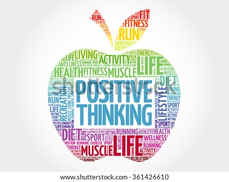Positive thinking apple word cloud, health concept - stock vector