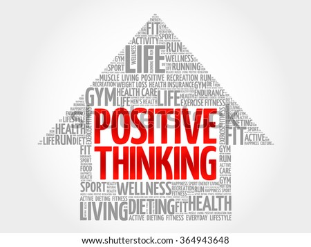 Positive thinking arrow word cloud, health concept - stock vector