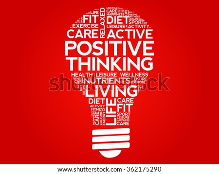 Positive thinking bulb word cloud, health concept - stock vector