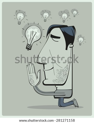 Positive thinking businessman is praying for new ideas by imagining the abundance of ideas falling from the sky in the shape of bright light-bulbs - stock vector