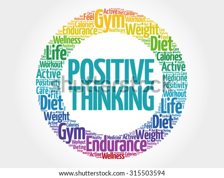 Positive thinking circle stamp word cloud, health concept - stock vector