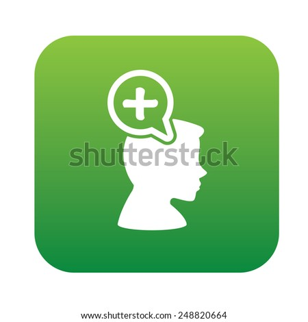 Positive thinking design on green flat button,clean vector - stock vector