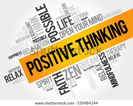 Positive thinking word cloud, business concept - stock vector