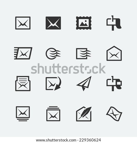 Post and mail related vector icons set - stock vector