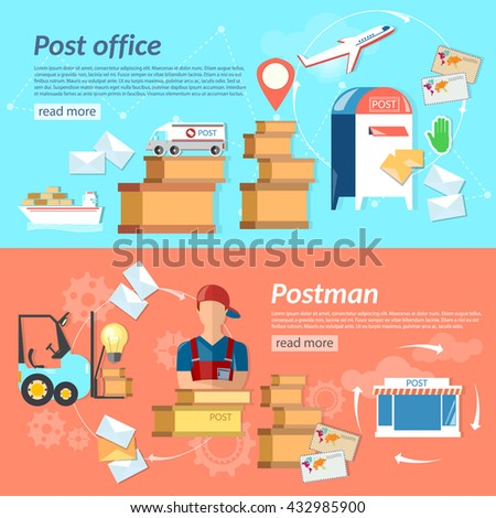 Post banners mail delivery mail letters and parcels shipping and handling vector illustration - stock vector