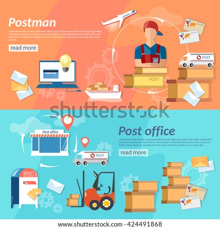 Post banners post man mail delivery postman post office shipping and handling mail parcels and envelopes vector illustration - stock vector