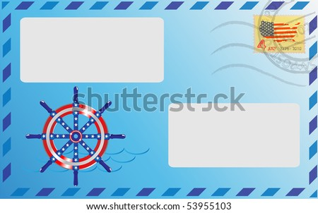 Post envelope of blue color with the pasted stamp and a ship steering wheel - stock vector