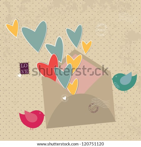 post envelope with a declaration of love - stock vector