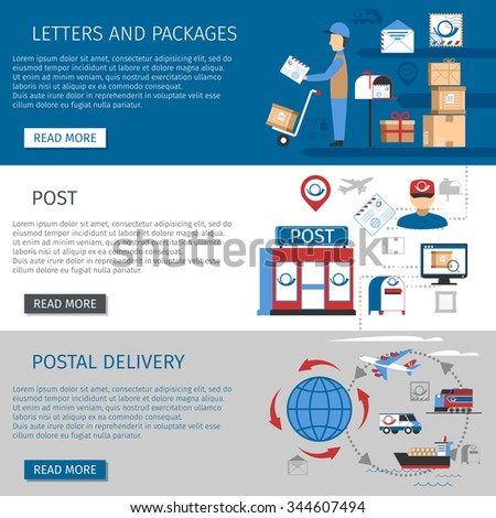 Post horizontal banners set with letters and packages delivery symbols flat isolated vector illustration  - stock vector