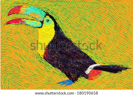 Post Impressionism style brazilian toucan bird vector painting - stock vector