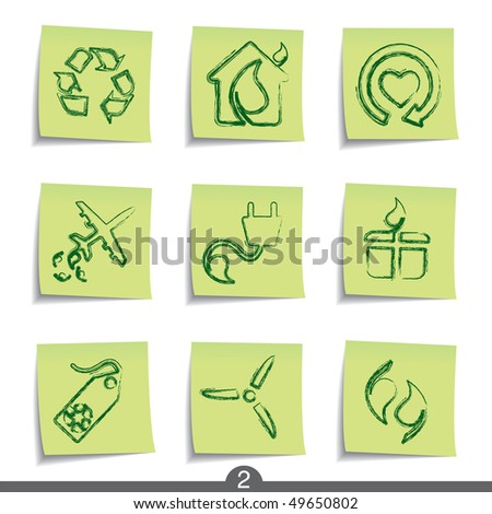 Post it icon series - ecology - stock vector