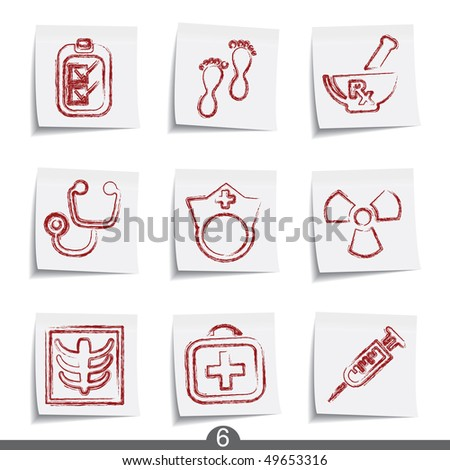 Post it icon series - medical - stock vector