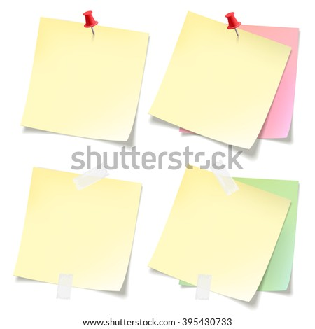Post-it  stickers collection. Yellow pink and green sticky note papers with curled corners pined on board. Paper sheet for reminder and memo.