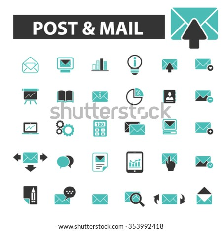post, mail, email, message, mail  icons, signs vector concept set for infographics, mobile, website, application  - stock vector