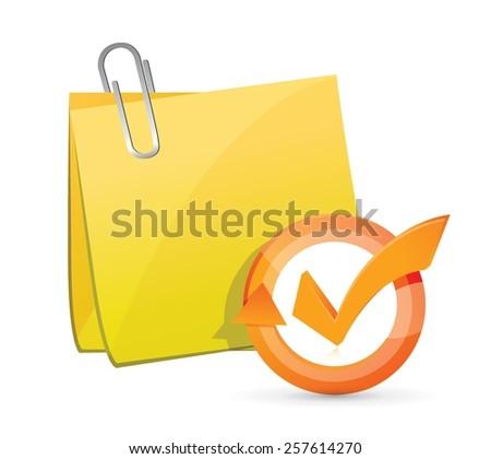 post memo check mark cycle illustration design over white - stock vector