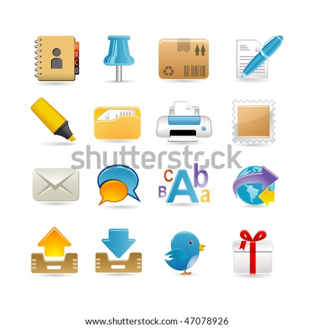 Post office icon set - stock vector
