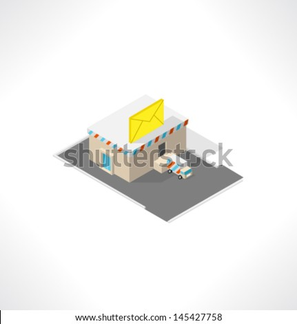 Post office. Isometric building. - stock vector