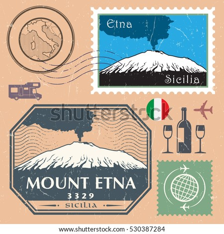 Post stamp set with the Mount Etna, active stratovolcano on the east coast of Sicily, Italy. Adventure outdoor, Expedition mountain, vector illustration