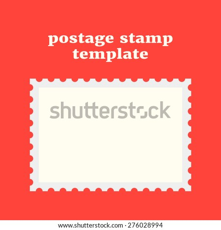 postage stamp template on red background. concept of message, indentation, cardboard, stationery, poststamp, backdrop, post-office. flat style trendy modern design vector illustration - stock vector
