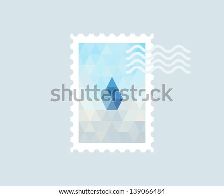 Postage stamp with polygonal drop - stock vector