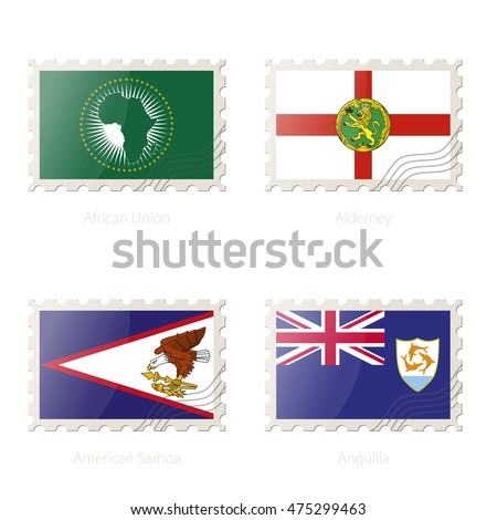Postage stamp with the image of African Union, Alderney, American Samoa, Anguilla flag. Vector Illustration.