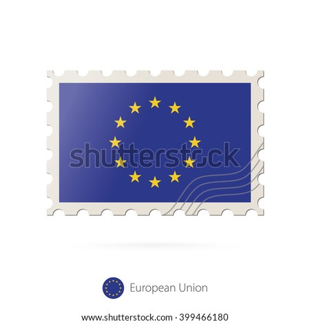 Postage stamp with the image of European Union flag. European Union Flag Postage on white background with shadow. Vector Illustration.