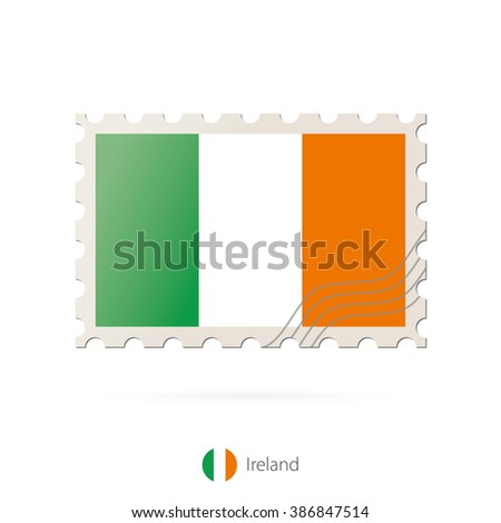 Postage stamp with the image of Ireland flag. Ireland Flag Postage on white background with shadow. Vector Stamp. Vector Illustration.