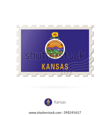 Postage stamp with the image of Kansas state flag. Kansas Flag Postage on white background with shadow. Vector Illustration.