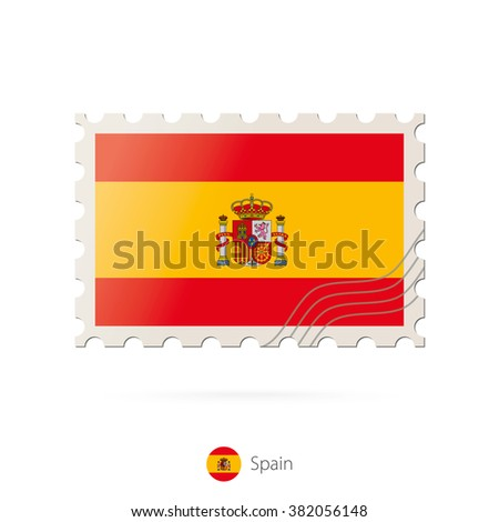 Postage stamp with the image of Spain flag. Spain Flag Postage on white background with shadow. Vector Stamp. Postage stamp and Spain flag. Vector Illustration. - stock vector