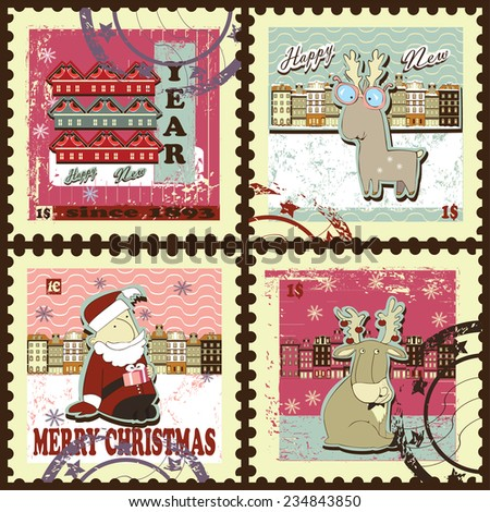 Postage stamps for Christmas and New Year. Set contains postage stamps with images of  lambs, Santa,  bullfinches , snowflakes, town, price and text. Vintage style. - stock vector