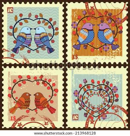 Postage stamps .Set contains the images of birds and heart.