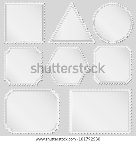 Postage stamps, vector eps10 illustration - stock vector