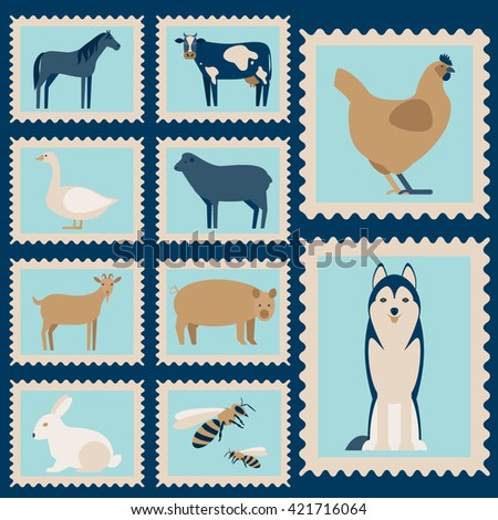Postage stamps with flat  farm animals. Set of flat farm animals. Farm animals on a white background. Farm animals and pets. - stock vector