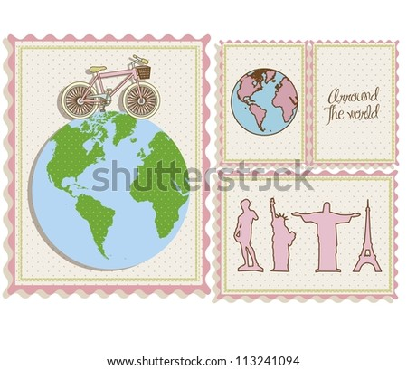 postal bike trip, and illustrations of cities around the world, vector illustration - stock vector
