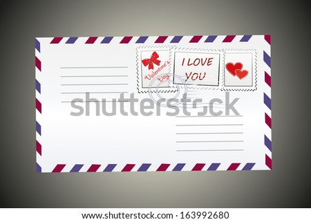 Postal envelope with hearts, mark and postmarked.