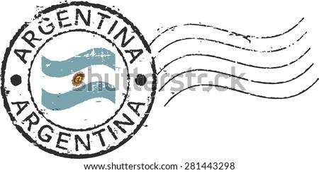 Postal grunge stamp 'Argentina'. - stock vector
