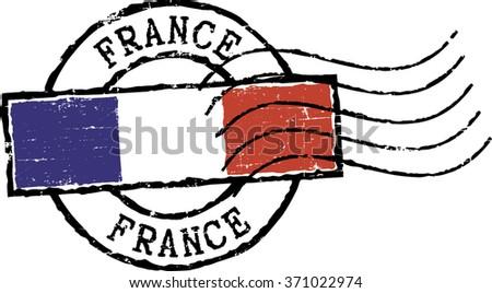 Postal grunge stamp ''FRANCE'' - stock vector