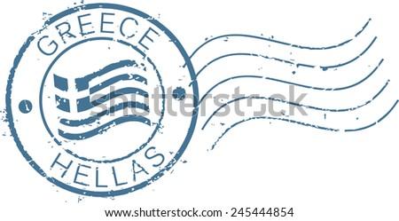 Postal grunge stamp 'Greece'. - stock vector