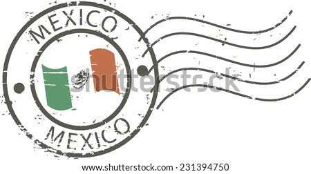 Postal grunge stamp 'Mexico' - stock vector