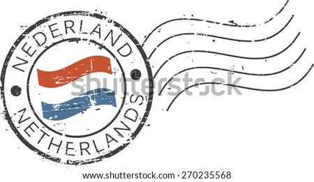 Postal grunge stamp 'Netherlands'. Dutch and english inscription - stock vector