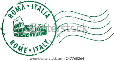 Postal grunge stamp 'Rome-Italy' with the colosseum. Italian and english inscription - stock vector