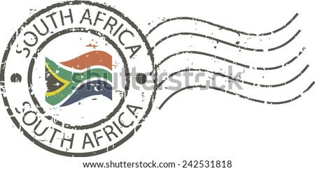 Postal grunge stamp 'South Africa' - stock vector