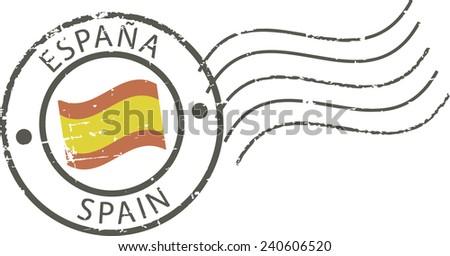 Postal grunge stamp 'Spain' - stock vector