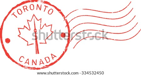 Postal grunge stamp 'Toronto - Canada'. CN tower and maple leaf. - stock vector