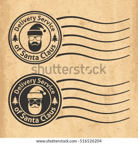 Postal stamps of the delivery service of Santa Claus on old grungy paper background. Vector illustration