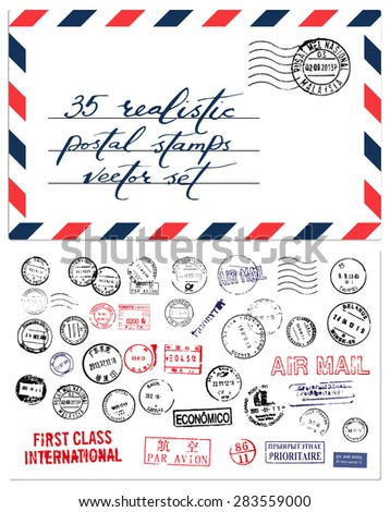Postal stamps vector set - stock vector