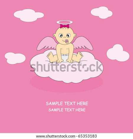 postcard angel girl - stock vector