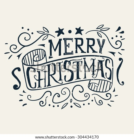 Postcard Christmas. Painted in ink. Hand lettering. - stock vector
