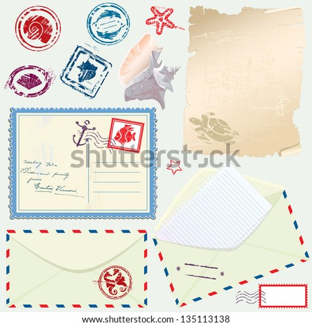 Postcard, envelope and paper with Retro nautical Stamps - for design and scrapbook - stock vector