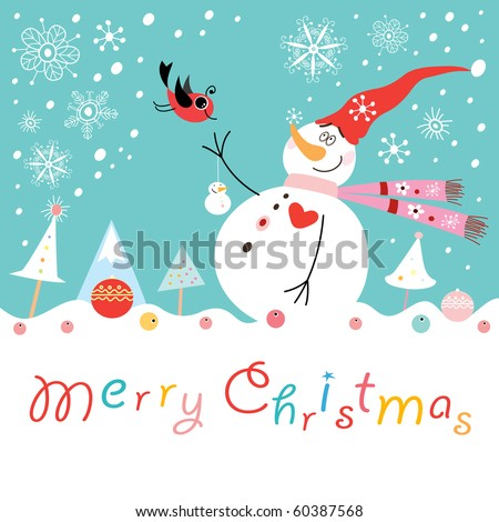 Postcard funny snowman with a bird - stock vector